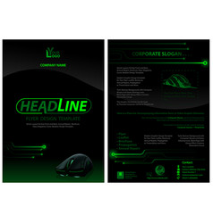 Dark flyer template with computer mouse vector