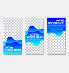 design of vertical banner with abstract wavy blue vector image