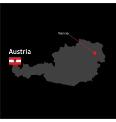 Detailed map of Austria and capital city Vienna vector