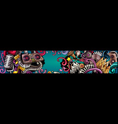 Disco music hand drawn doodle banner cartoon vector
