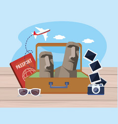 easter island in baggage with passport and vector image