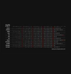 english creative calendar 2020 vector image
