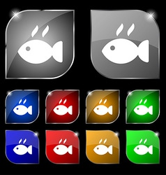 Fish dish Icon sign Set of ten colorful buttons vector