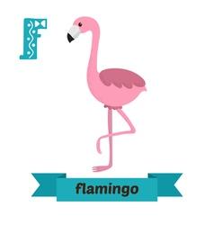 Flamingo F letter Cute children animal alphabet in vector