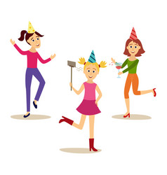 flat girls party set vector image