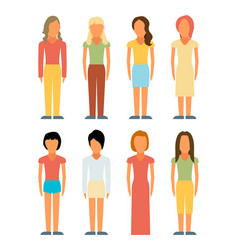 Flat style people figures icons vector