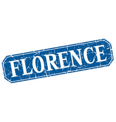 Florence blue square grunge retro style sign vector