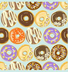 glazed donuts seamless pattern bakery vector image
