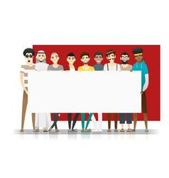 group multi ethnic men holding empty board vector image