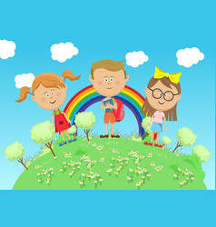 Group of school children standing on green earth vector