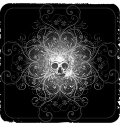 grunge halftone background with a skull vector image