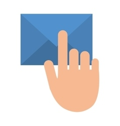 Hand touch envelope email message vector