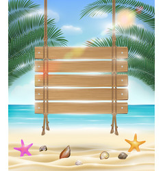 hanging wood board with sea sand beach background vector image