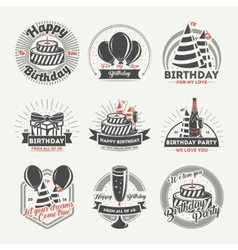Happy birthday vintage isolated label set vector image