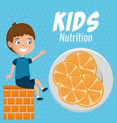 happy boy with nutrition food vector image