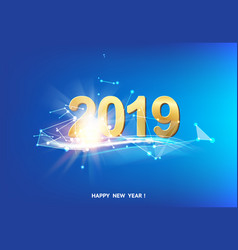 happy new year card over blue background with vector image