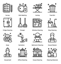 House cleaning line icons pack vector