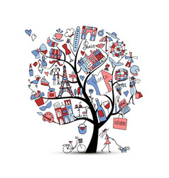 i love france art tree sketch for your design vector image