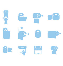 Icon set of toilet paper napkins and towels vector