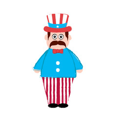 isolated man with an american party hat vector image