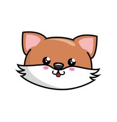kawaii fox icon vector image