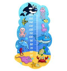 Kids height chart cartoon sea animals growth meter vector