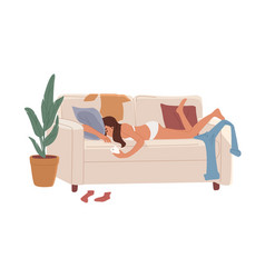 Lazy and depressed young woman lying on couch vector