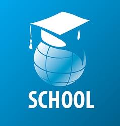 Logo academic cap on globe vector
