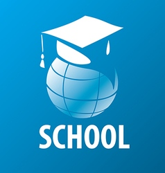 logo academic cap on the globe vector image