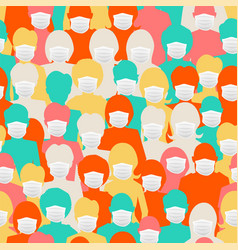 lot bright colorful silhouettes wear masks to vector image