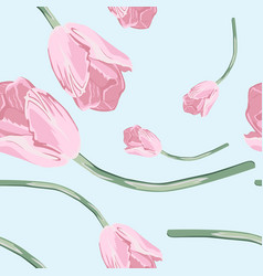 lovely seamless pattern with pink tulip vector image