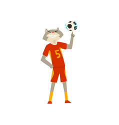 Man with cat head playing with ball animal vector