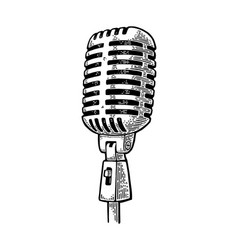 Microphone vintage black engraving vector