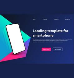 mobile app landing page mockup black smartphone vector image