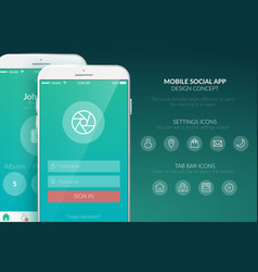 Mobile user interface template vector