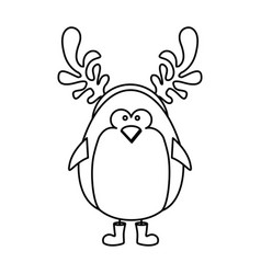 Monochrome contour of penguin with horns of vector