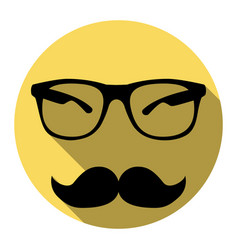 mustache and glasses sign flat black icon vector image