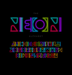 neon letters set glowing colorful font luminous vector image