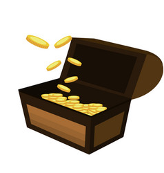open wooden chest with gold coins vector image