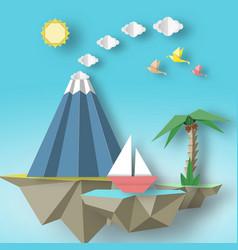 Origami paper artistic applique with soars islands vector