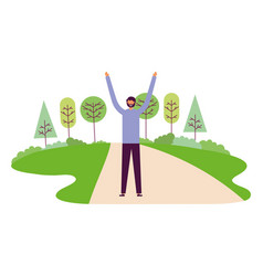 people character outdoors vector image