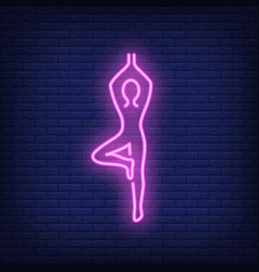 Person doing yoga neon sign vector
