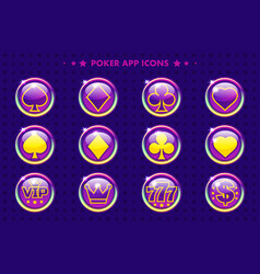 poker purple app icons cartoon casino symbols vector image