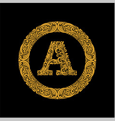 premium elegant capital letter a in a round frame vector image