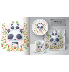 pretty panda with ba- poster and merchandising vector image
