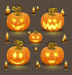 pumpkin set with smile vector image