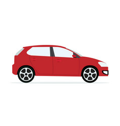 Red modern car with isolated white vector
