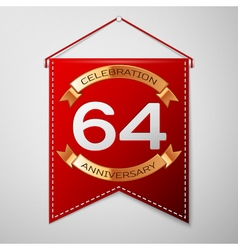 Red pennant with inscription sixty four years vector