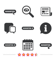 Register with hand pointer icon mouse cursor vector