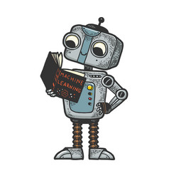 Robot child with book sketch engraving vector